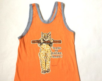 Vintage 'Hang In There Baby' Kitty Orange Tank