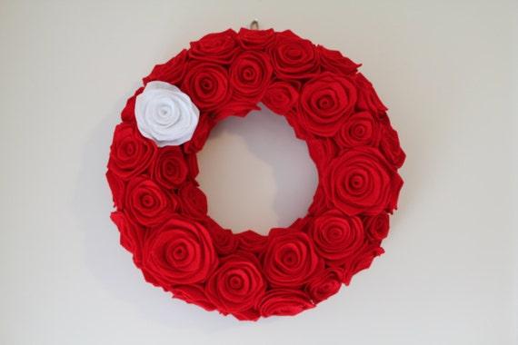 Christmas Red Rosette Wreath. Christmas Wreath. Handmade Wreath