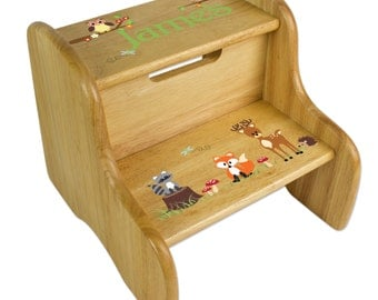 Personalized Woodland Critters Stool Childrenu0027s STEP Stools with Owl Fox Forest Animals Nursery Natural Wood  sc 1 st  Etsy & Owl stool | Etsy islam-shia.org