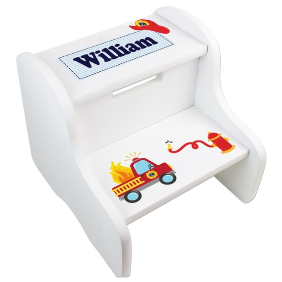 Personalized Fire Truck Step Stool Fireman Stools For Boys