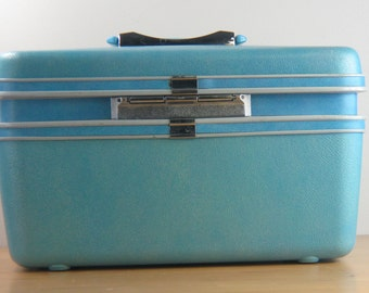 Samsonite Silhouette Train Case Vintage Luggage in Aqua Blue