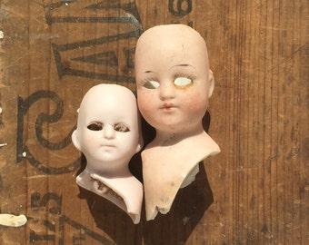 2 Damaged Antique, German Bisque, doll heads, doll parts, eyeless, from Elizabeth Rosen