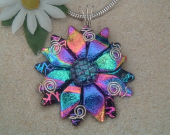 Hancrafted Dichroic Glass Flower/Sunburst Pendant