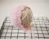 Newborn Knit Brushed Alpaca Soft Scalloped Bonnet Photography Prop Pink
