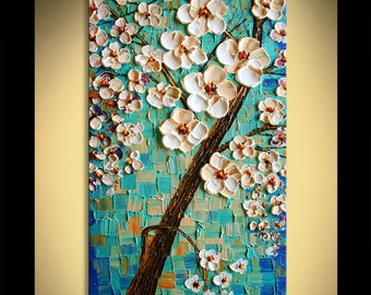 Painting on canvas PALETTE KNIFE original texture art ready to hang blooms in Blue By Paula Nizamas