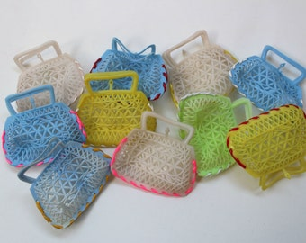 Set of Kitsch 1960s small bag - Sixties pastel shades Plastic mesh purse - see through coin purse 60's -party favor- 10 pcs