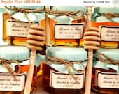 15% OFF SALE Ends Sunday 12 Honey Favors with Wooden Honey Dippers and Labels