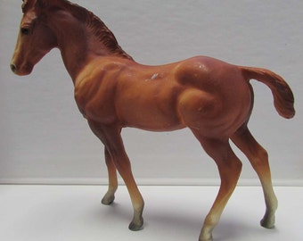 Vintage Plastic Horse brown Stallion Equestrian Collectible Figurine