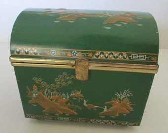 Vintage Lady Baret Ware Jewelry Box London England No. 194 Green Oriental Tin Chest