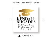 "Graduation Address Labels Small Stickers 1.25"" Square Printable Return Address Label Gold Faux Foil Graduate DIY Digital or Printed- Kendall"