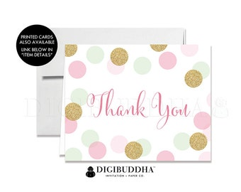 THANK YOU CARDS Folded A2 Thank You Cards Note Wedding Thank You Bridal Shower Baby Shower Thank You Instant Download DiY Printable - Leigh