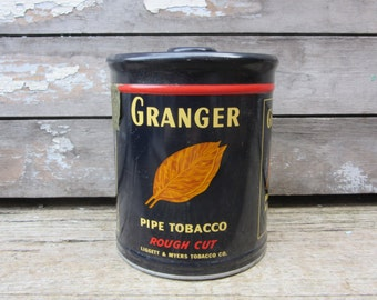 Vintage GRANGER Tobacco Tin Can Pipe Cigarettes Smoking  Liggett & Myers Kentucky Tobacco Advertising Tins Metal Cans Rustic Props Display