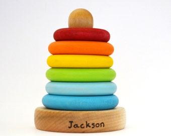Personnalisé le jouet empilable - arc-en-jouet en bois - bague empileur - jouet en bois naturel