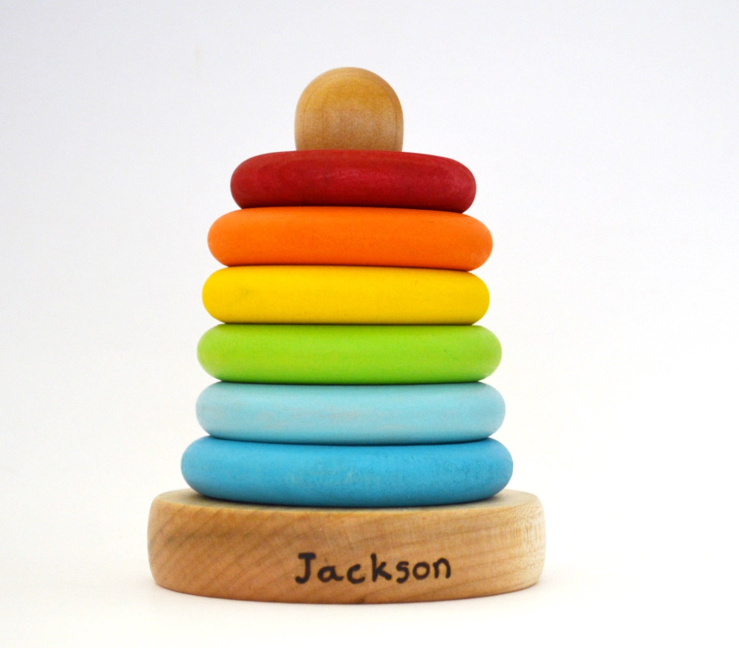 Stacking Rings Toy : Personalized stacking toy rainbow wooden ring stacker