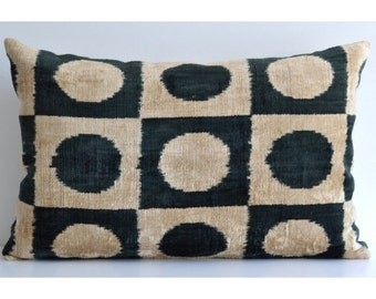 Handmade Velvet Silk Ikat pillow cover Lp117, Bohemian pillow