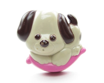 Puppy Love Pin Vintage Avon Perfume Glace Plastic Dog Brooch