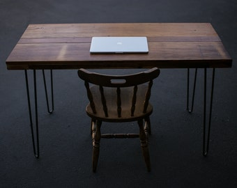 """Reclaimed wood """"barnyard style"""" desk, with hairpin legs"""
