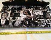 Mad med 60s style envelope shoulder patent leather purse. Black/white/gold