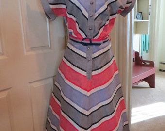 Vintage 1940s Cotton Day Dress Chevron Stripe Rockabilly VLV Small