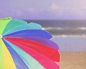 Rainbow Beach Umbrella Fine Art Photography Red Hot Pink Blue Aqua Lime Green Purple Ocean Seaside Sand Tropical Coastal Home Decor Wall Art