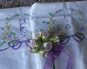 Beautiful Pair Of Vintage Shabby White Cotton Pillow Cases with Embroidery His and Hers/Romantic Decor/Shabby Decor/Cottage Decor