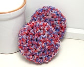 Red, White  & Blue Scrubbies - Patriotic Scrubby - Set of 2 Handmade Scouring Pads