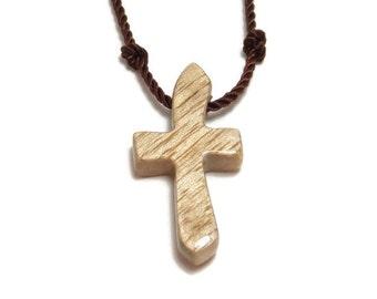 Simple Cross Necklace, Minimalist Cross Necklace, Cross Pendant, Oregon Myrtlewood