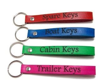 Leather Key Fob, Personalized Key Fob, Leather Key Chain, Gifts Under 10, Spare Keys, Boat Keys, Cabin Keys, Trailer Keys