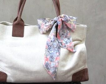 Peach Floral Scarf Purse Scarf Handbag Scarf Hair Wrap Hair Scarf Hair Bow Neck Bow Wrist Scarf Grey Tan Floral Scarf Ready to Ship