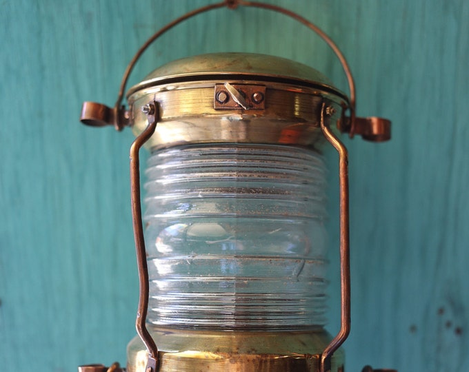 Copper Lantern, Beach Decor, Nautical, Vintage, Restored by SEASTYLE