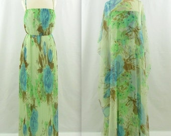 ON SALE Jean Pierce Evening Gown + Caftan - Vintage 1970s Pleated Maxi Dress w/ Cape in Small