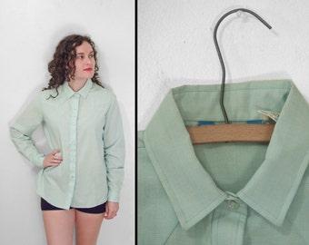 Western KARMAN Blouse 1980s Mint Green Snap Up Size Medium