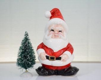 Lefton Santa Christmas Card Holder - Holiday Kitsch Decor, Greeting Card Storage, Napkin Holder, Figurine, Knick Knack Red White Black Boots
