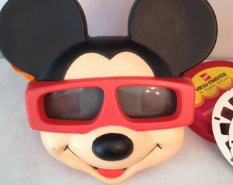 Vintage Mickey Mouse Viewmaster Viewer and Several Disney Reels
