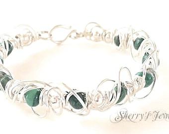 Silver bracelet, Silver bangle, Jade Bracelet, Jade Bangle, Tangled Jade bracelet