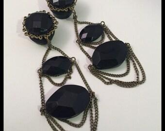 PICK SIZE  Fancy Wedding Black Gold Chain Girly Ear Guages Dangle Plugs