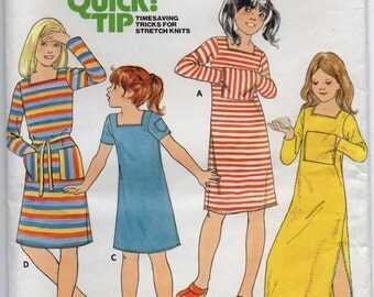 Semi Fitted Dress With Square Neckline Top Stitch Trim Girls Size 12 Children's Sewing Pattern Butterick 5983