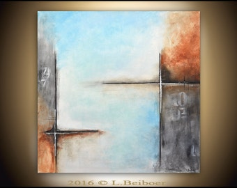Abstract painting original large square painting 36x36 gray blue abstract raw modern contemporary art by L.Beiboer