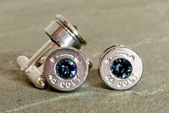 Bullet Casings Cufflink and Tie Pin Set Swarovski Montana Navy Blue