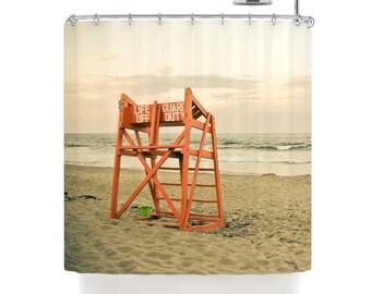 shower curtain beach shower curtain life guard stand ocean shower curtain nautical