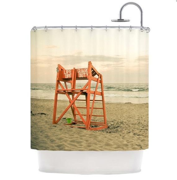 shower curtain beach shower curtain life guard stand ocean