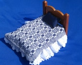 Dollhouse Coverlet Miniature Coverlet Handwoven Coverlet Navy Blue Whig Rose Coverlet 12th Scale Dollhouse Blanket Small Doll Bedding