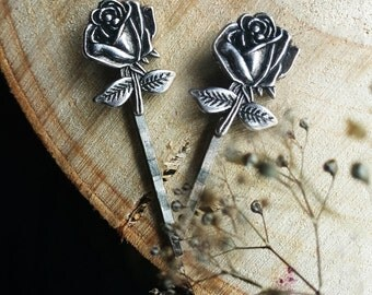 Set of two silver rose bobby pins