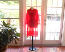Vintage Texsheen peignoir red nylon robe 1960's Russell Newman exclusive lace lingerie sheer baby doll French: medium, large
