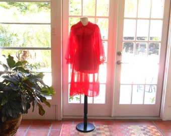 Texsheen peignoir red nylon robe 1960's Russell Newman exclusive lace lingerie sheer baby doll French: medium, large