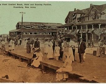 Vintage Postcard, Keansburg, New Jersey, Boardwalk, New Point Comfort Beach