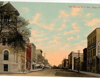 Vintage Postcard, Fargo, North Dakota, City Hall and N.P. Avenue, ca 1910
