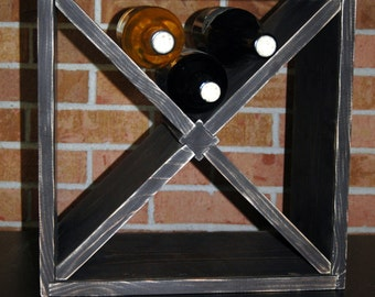 "15"" Distressed Square 12 Bottle Wood Wine Rack Espresso  Counter top Model"