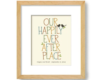 Housewarming Gift - New House - Unique Wedding Gift - Art Print for Couples - Personalized Wedding - Lovebirds - Happily Ever After