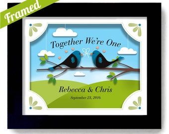 Lovebirds Wedding Gift Unique Engagement and Wedding Gift Idea Framed Gift Wedding Anniversary Personalized for Couples Romantic Keepsake